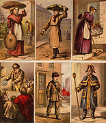London street scenes. Fish seller: Muffin Man (with bell): Housemaid: Huckster selling crockery: Telegram boy. A Beadle. Illustrations by Horace William Petherick (1839-1919) for a children's book published London c1875.