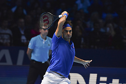 November 15, 2018 - London, England, United Kingdom - Roger Federer of Switzerland returns during his round robin match against Kevin Anderson of South Africa during Day Five of the Nitto ATP Finals at The O2 Arena on November 15, 2018 in London, England. (Credit Image: © Alberto Pezzali/NurPhoto via ZUMA Press)