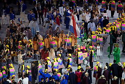 Netherlands, Dubbeldam Jeroen, Gal Edward, Minderhoud Hans Peter, Opening ceremony<br /> Olympic Games Rio 2016<br /> © Hippo Foto - Dirk Caremans<br /> 05/08/16