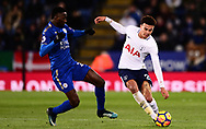 Dele Alli of Tottenham Hotspur battles with Wilfred Ndidi of Leicester city .Premier league match, Leicester City v Tottenham Hotspur at the King Power Stadium in Leicester, Leicestershire on Tuesday 28th November 2017.<br /> pic by Bradley Collyer, Andrew Orchard sports photography.