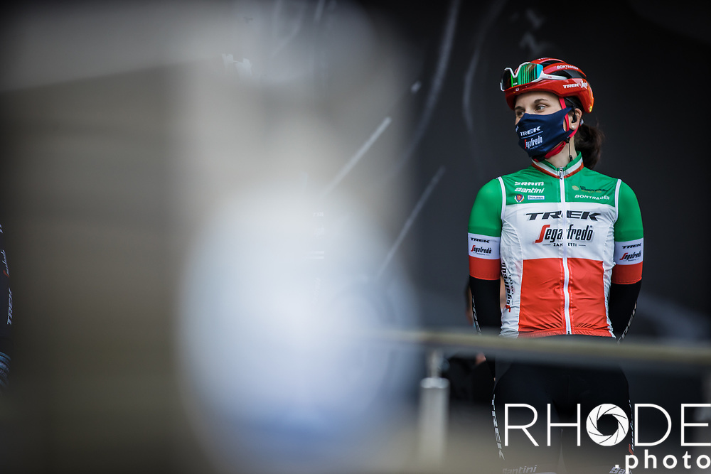 Elisa Longo Borghini (ITA/Trek Segafredo) at the pre race team presentation<br /> <br /> 24th la Flèche Wallonne Féminin 2021 (1.UWT)<br /> 1 Day Race: Huy – Huy 130,5km<br /> <br /> ©RhodePhoto