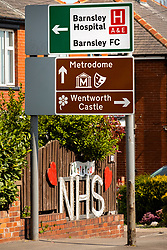 Barnsley halfway though half way through the UK's third week of emergency measures which were announced Monday the 23rd April. Residents of Dodworth Road close to Barnsley Hospital proudly announce their support and gratitude to NHS workers who may be passing<br /> <br /> 08 April 2020<br /> <br /> www.pauldaviddrabble.co.uk<br /> All Images Copyright Paul David Drabble - <br /> All rights Reserved - <br /> Moral Rights Asserted -