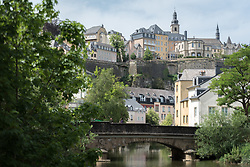 Bridge over the Alzette in the area of Grund, located beneath Ville Haute, Luxembourg.