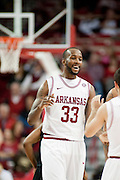 Nov 16, 2011; Fayetteville, AR, USA;  Arkansas Razorbacks forward Marshawn Powell (33) walks off the court during a time out at a game against the Oakland Grizzlies at Bud Walton Arena. Arkansas defeated Oakland 91-68. Mandatory Credit: Beth Hall-US PRESSWIRE