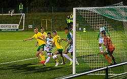 OSWESTRY, ENGLAND - Thursday, August 27, 2020: The New Saints' Leo Smith scores the second goal, to make the score 2-1, in extra time during the UEFA Europa League First Qualifying Round match between The New Saints FC and MŠK Žilina at Park Hall. The New Saints won 3-1. (Pic by Propaganda)