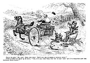 "Farmer (in cart). ""Hi, stop! Stop, you fool! Don't you see my horse is running away?"" Driver of motor-car (hired by the hour). ""Yes, it's all very well for you to say 'stop' but I've forgotten how the blooming thing works!"""