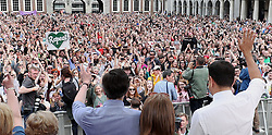 Health Minister Simon Harris (left) and Taoiseach Leo Varadkar (right) wave at crowds as they celebrate at Dublin Castle after the results of the referendum on the 8th Amendment of the Irish Constitution which prohibits abortions unless a mother's life is in danger.