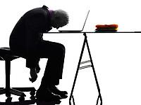 One Caucasian Senior Business Man sleeping Silhouette White Background