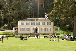 Ayala Cove, Angel Island State Park, in San Francisco Bay, CA, California.  People disembark and picnic at Ayala Cove, then hike, bike, or tram perimeter road, with stops at Civil War era Camp Reynolds, and its restored officer house, or Spanish American War era Fort McDowell..Photo camari241-70376..Photo copyright Lee Foster, www.fostertravel.com, 510-549-2202, lee@fostertravel.com.