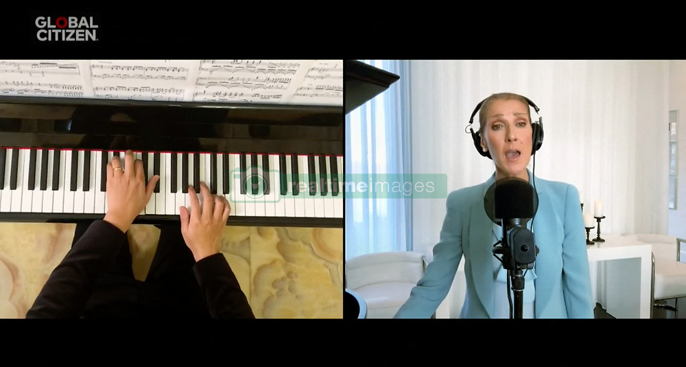 Capture - Celine Dion seen performing live on a smartphone as One World Together At Home is streaming live on April 19, 2020. One World Together At Home is a campaign rallying funds for the COVID-19 Solidarity Response Fund for the World Health Organization. The WHO's mission for COVID-19 is to prevent, detect, and respond to the pandemic. Photo via ABACAPRESS.COM