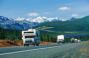 Alaska. The Glenn Highway near Tahnetna Lake with the Chugach Mts in distance.