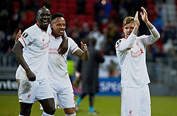 KAZAN, RUSSIA - Thursday, November 5, 2015: Liverpool's Mamadou Sakho, Nathaniel Clyne and Alberto Moreno celebrate after the 1-0 victory over Rubin Kazan during the UEFA Europa League Group Stage Group B match at the Kazan Arena. (Pic by Oleg Nikishin/Propaganda)