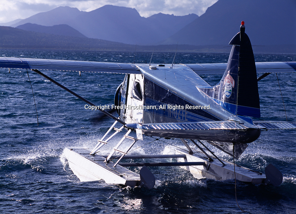 Crystal Creek Lodge's de Havilland Beaver taxiing into headwind on Nunavaugaluk Lake, Alaska.