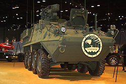 06 February 2005: The eight-wheeled Stryker combat vehicle is the U.S. Army's Stryker Brigade Combat Team primary combat and combat support platform and the focal point of this ongoing phase of Army Transformation. Significantly lighter and more transportable than existing tanks and armored vehicles, the Stryker fulfills an immediate requirement to provide Combatant Commanders with a strategically deployable (C-17/C-5) and operationally deployable (C-130) brigade capable of rapid movement anywhere on the globe in a combat ready configuration.<br /> <br /> First staged in 1901, the Chicago Auto Show is the largest auto show in North America and has been held more times than any other auto exposition on the continent.  It has been  presented by the Chicago Automobile Trade Association (CATA) since 1935.  It is held at McCormick Place, Chicago Illinois