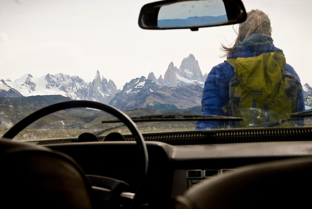 Kate Rutherford takes her final glimpse of the Fitzroy and Cerro Torre massifs on her way home, Patagonia, Argentina