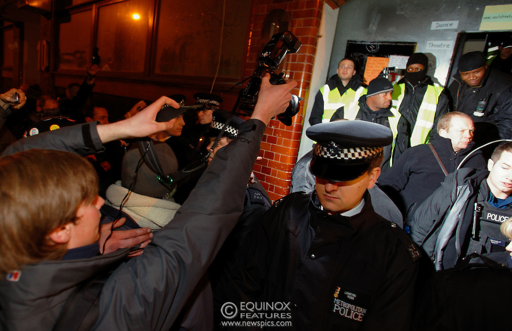 London, United Kingdom - 30 January 2012.Photographer Jules Mattsson who was allegedly assaulted by one of the bailiffs. Police and bailiffs clash with Occupy London protesters and their supporters as they evict them from the Occupy Bank of Ideas site. The campaigners had formed a self styled Earl Street Community Space in part of a building owned by UBS Bank, Earl Street, City of London, London, England, UK..Copyright: ©2012 Equinox Licensing Ltd. +448700 780000 - Contact: Equinox Features - Date Taken: 20120130 - Time Taken: 021543+0000 - www.newspics.com