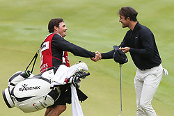 June 23, 2018 - Cromwell, Connecticut, United States - Jamie Lovemark (R) shakes hands with his caddie on the 18th green after the third round of the Travelers Championship at TPC River Highlands. (Credit Image: © Debby Wong via ZUMA Wire)