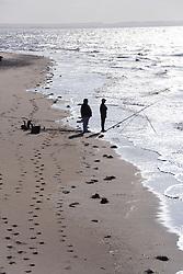 Beach fishing at Spurn Head; East Yorkshire; England,