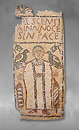 The Christian Eastern Roman Byzantine memorial funerary mosaic for Crescentia. <br /> Above the funerary portrait of Crescentia are the words: 'Crescentia, innocent and in Peace'. Crescentia is dressed in a dalmatic, a long wide-sleeved tunic, with a belt around the waiste and a neclace around her neck. Lit candles represent eternal life. 5th century AD from the western necropolis of Thabraca, Tabarka, Tunisia, Bardo Museum, Tunis, Tunisia. Grey background .<br /> <br /> If you prefer to buy from our ALAMY PHOTO LIBRARY  Collection visit : https://www.alamy.com/portfolio/paul-williams-funkystock/roman-mosaic.html - Type -   Bardo    - into the LOWER SEARCH WITHIN GALLERY box. Refine search by adding background colour, place, museum etc<br /> <br /> Visit our ROMAN MOSAIC PHOTO COLLECTIONS for more photos to download  as wall art prints https://funkystock.photoshelter.com/gallery-collection/Roman-Mosaics-Art-Pictures-Images/C0000LcfNel7FpLI