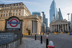 © Licensed to London News Pictures. <br /> London, UK. 24/03/2020. Empty looking Bank Station in central London after the Prime Minister Boris Johnson announced the first coronavirus lockdown yesterday.<br /> Photo credit: Marcin Nowak/LNP