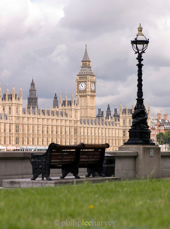 The Houses of Parliament and Big Ben seen from the south bank of the River Thames, London, UK