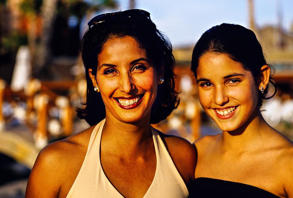 Mexican woman and her 14 year old daughter, Hotel Hacienda del Mar, Los Cabos, Baja California, Mexico