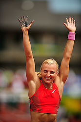 04.06.2011, Eugene, USA, Prefontaine Classic Track Meet, im Bild Anna Rogowska (POL) celebrates winning the women's pole vault with a vault of 4.68 meters at the Prefontaine Classic at Hayward Field in Eugene, Oregon..June 4, 2011. EXPA Pictures © 2011, PhotoCredit: EXPA/ New Sport Photo +++++ ATTENTION - OUT OF USA  +++++