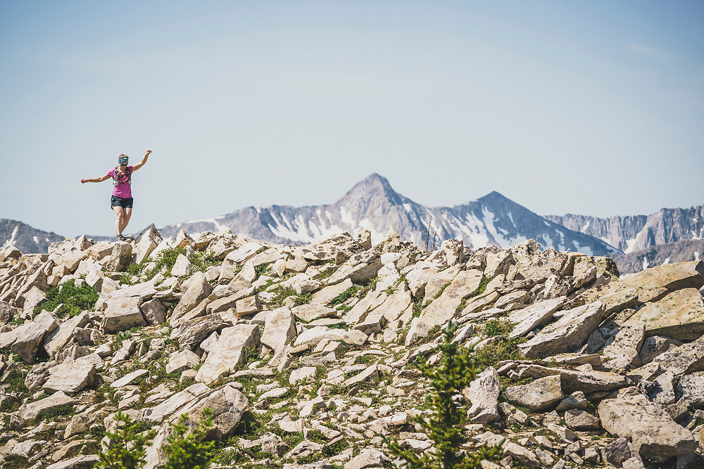 Jacki Arevalo traverses from Pole Line Pass to Flagstaff Peak, Alta, Utah.