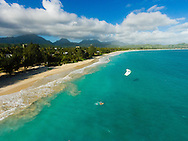 Aerial photo of kite surfer in Kailua Beach, Oahu, Hawaii