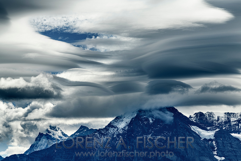 Foehn clouds over the Finsteraarhorn and Eiger, Niederhorn, Interlaken, Berne, Switzerland
