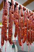 Artisan food and chorizo cured meat shop in Calle Mayor in town of Laguardia, Rioja-Alavesa, Basque country, Spain