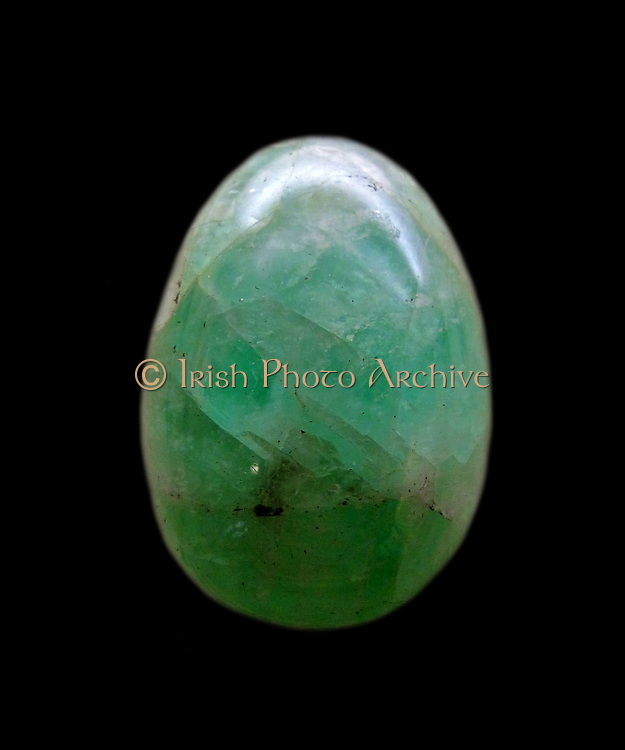 Fluorite.  Massive green fluorite from the Redruth area, Cornwall, fashioned as an egg.