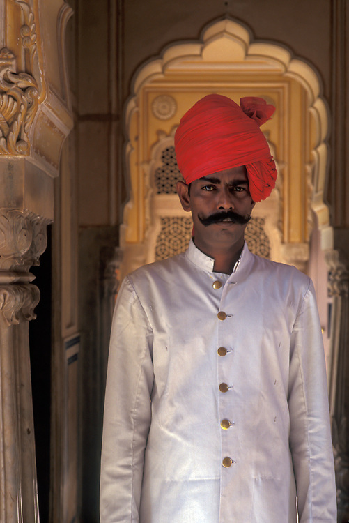 Portrait of a City Palace guard on duty, Jaipur, Rajasthan