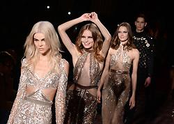 Models on the catwalk at the Julien Macdonald Autumn/Winter 2017 London Fashion Week show at Goldsmiths' Hall, London. Photo credit should read: Doug Peters/ EMPICS Entertainment