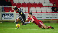 Lincoln City's Matt Green is fouled by Accrington Stanley's Ross Sykes<br /> <br /> Photographer Andrew Vaughan/CameraSport<br /> <br /> The EFL Checkatrade Trophy Second Round - Accrington Stanley v Lincoln City - Crown Ground - Accrington<br />  <br /> World Copyright © 2018 CameraSport. All rights reserved. 43 Linden Ave. Countesthorpe. Leicester. England. LE8 5PG - Tel: +44 (0) 116 277 4147 - admin@camerasport.com - www.camerasport.com