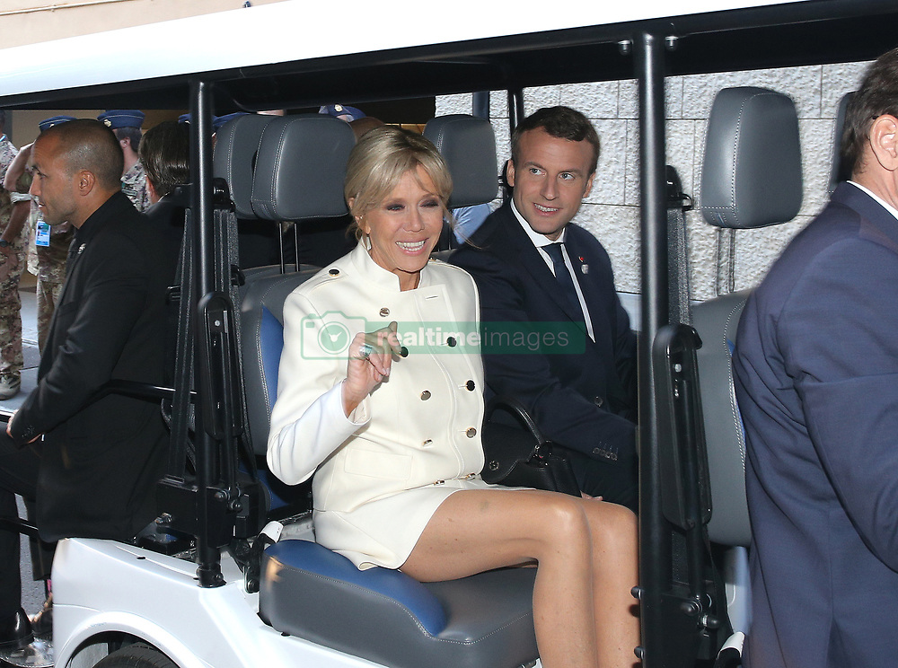 May 26, 2017 - Taormina, Italy - Brigitte Macron and Emmanuel Macron  at the G7 Taormina summit on the island of Sicily on May 26, 2017 in Taormina, Italy. Leaders of the G7 group of nations, which includes the Unted States, Canada, Japan, the United Kingdom, Germany, France and Italy, as well as the European Union, are meeting at Taormina from May 26-27. (Credit Image: © Gabriele Maricchiolo/NurPhoto via ZUMA Press)