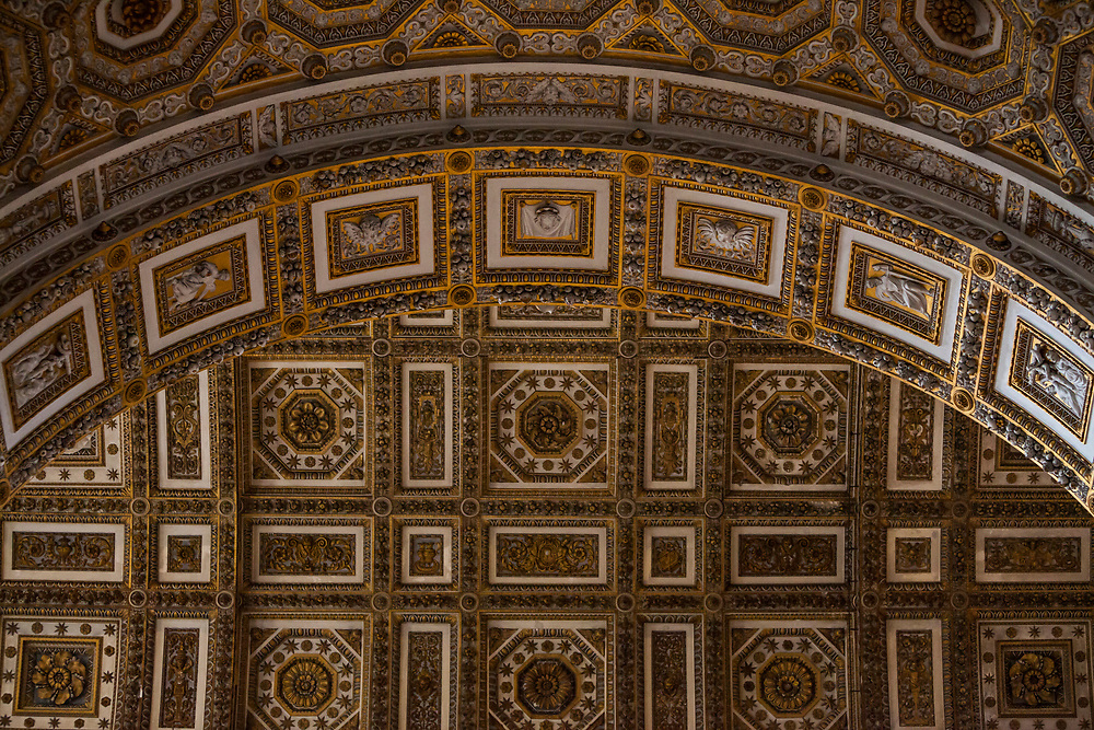 A detail of an archway inside St. Peters Basilica, Vatican City / Rome, Italy.