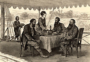 English explorers John Hanning Speke (1827-1864) and James Augustus Grant (1827-1892) at Gondokoro, south Sudan, at the end of their expedition, where they were met by Samuel (1821-1893) and Florence (1841-1916) Baker. On their 1860-1863 expedition Speke and Grant mapped parts of Lake Victoria Nyanza, Africa, and Speke found the outlet of the lake into the White Nile which he named Ripon Falls.  From 'Heroes of Britain in Peace and War' by Edwin Hodder (London, c1880),