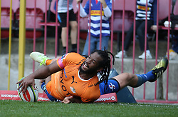 Sergeal Petersen of the Cheetahs goes over for a try during the Super Rugby match between the DHL Stormers and the Toyota Cheetahs held at DHL Newlands rugby stadium in Newlands, Cape Town, South Africa on the 28th May 2016<br /> <br /> Photo by: Ron Gaunt / SPORTZPICS