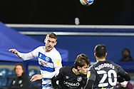 QPR Midfielder SAM Field(15) heads the ball  during the EFL Sky Bet Championship match between Queens Park Rangers and Brentford at the Kiyan Prince Foundation Stadium, London, England on 17 February 2021.