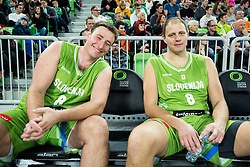 Matjaz Smodis and Raso Nesterovic during basketball match between Slovenian football and basketball Legends at All-Stars Stozice 2014, on December 28, 2014 in Arena Stozice, Ljubljana, Slovenia. Photo by Vid Ponikvar / Sportida
