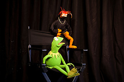 © Licensed to London News Pictures. 13/06/2012. LONDON, UK. Kermit the Frog appears at the HMV store on Oxford Street, London, to promote the release of The Muppets on Blu-Ray and DVD. Photo credit: Matt Cetti-Roberts/LNP