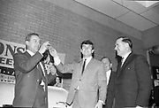 The Capitol Showband singer Butch Moore and actor Eddie Byrne drawing the prizes in the 14th Lyons Tea Free Draw at Goldenbridge, Inchicore. .28.02.1966