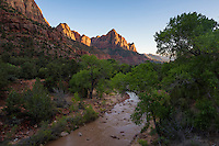 The Watchman mountain and the Virgin River, Zion National Park, located in the Southwestern United States, near Springdale, Utah.