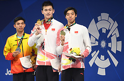 JAKARTA, Aug. 24, 2018  Gold medalist Sun Yang (C) of China and bronze medalist Ji Xinjie (R) of China attend the awarding ceremony of men's 1500m freestyle final of swimming at the 18th Asian Games in Jakarta, Indonesia, Aug. 24, 2018. (Credit Image: © Pan Yulong/Xinhua via ZUMA Wire)