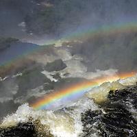 South America, Argentina, Iguacu Falls. Double Rainbow at Iguacu Falls.