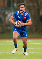 France's Maxime Espeut in action during todays match<br /> <br /> Photographer Bob Bradford/CameraSport<br /> <br /> The 2018 U18 6 Nations Festival - Wales U18 v France U18 - Saturday 31st March 2018 - CCB Centre for Sporting Excellence, Ystrad Mynach Hengoed <br /> <br /> World Copyright © 2018 CameraSport. All rights reserved. 43 Linden Ave. Countesthorpe. Leicester. England. LE8 5PG - Tel: +44 (0) 116 277 4147 - admin@camerasport.com - www.camerasport.com