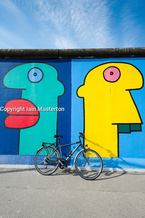 Colourful murals at East Side Gallery at former Berlin Wall in Friedrichshain/Kreuzberg in Berlin Germany