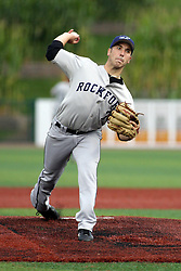 12 August 2011: Starting Pitcher Joe Scumaci during a game between the Rockford River Hawks and the Normal Cornbelters at the Corn Crib in Normal Illinois.