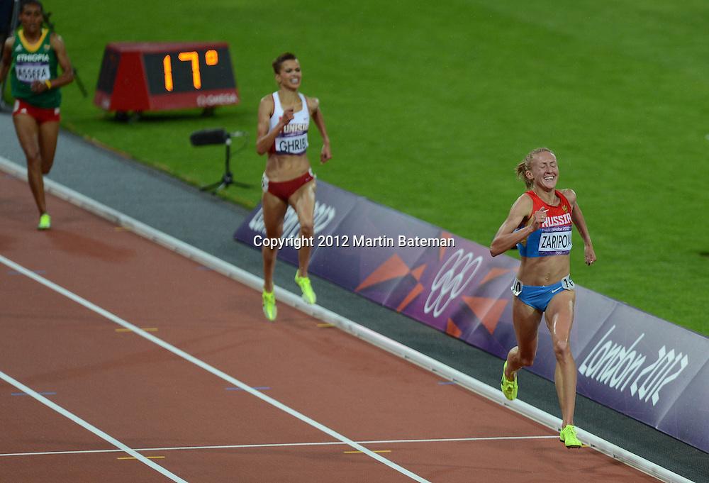 Accused drug cheat Zaripova wins the Women's 3000m Steeplechase at London2012